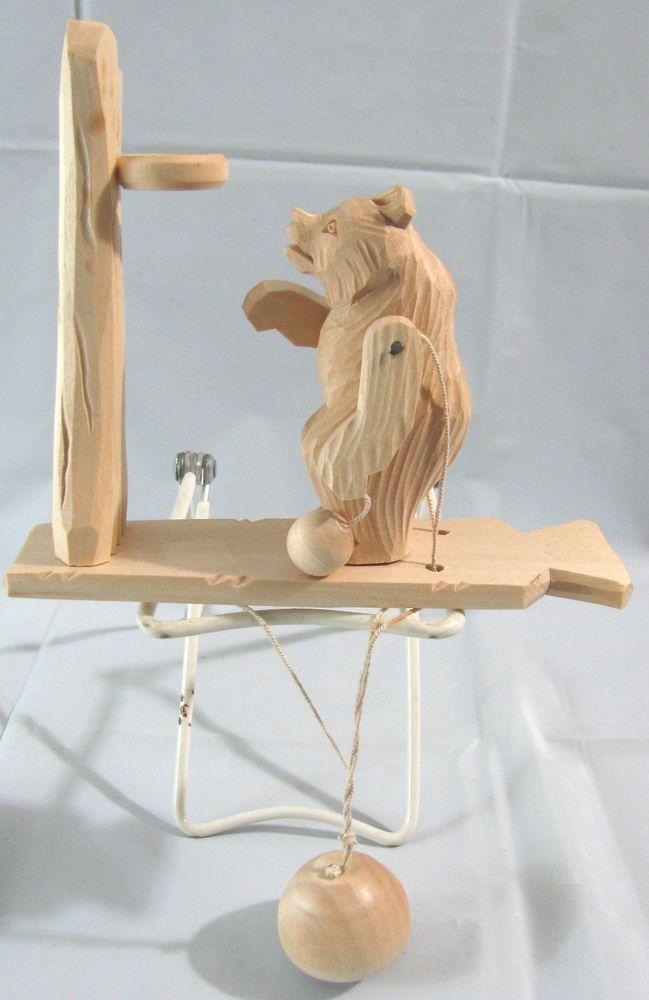 VTG Hand Carved Wooden Toy Bear Figurine Basket Ball Folk Art Primitive RUSSIA #babayaga basketball #primitive #handcarved #woodentoys