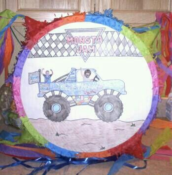 CREATE your own pinata! Thats a photo of Ky driving and Jax in back