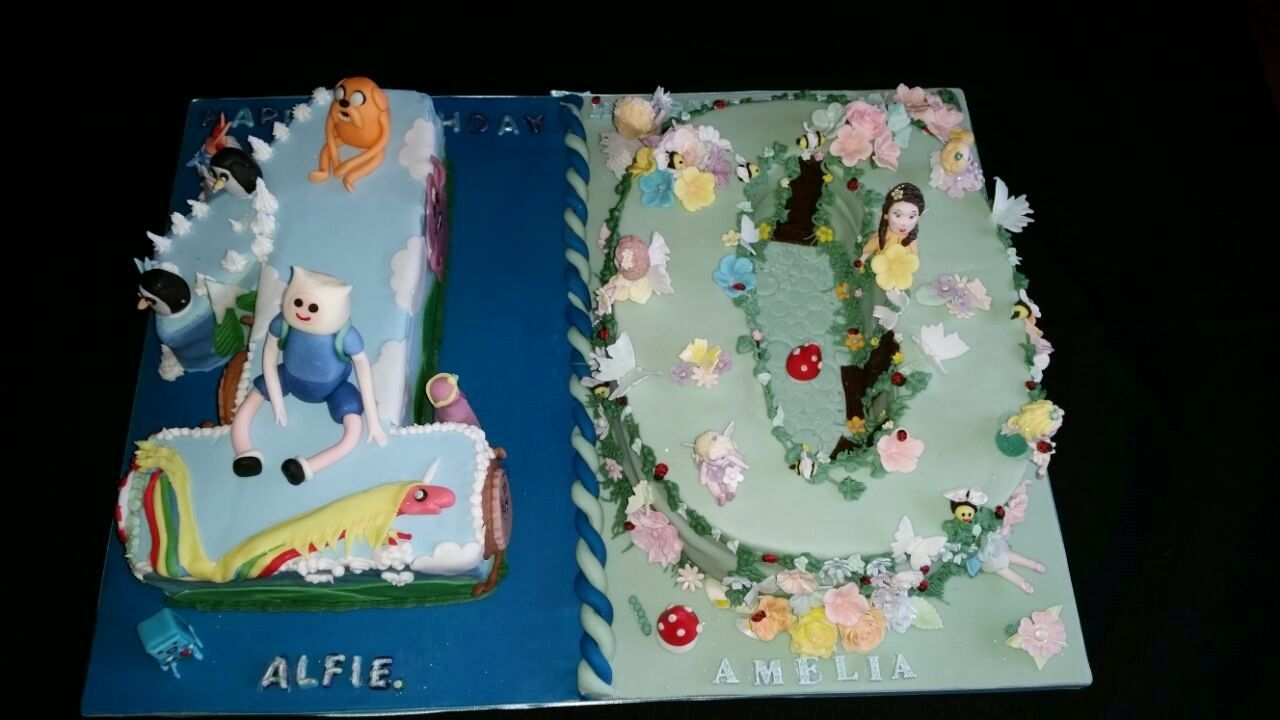 Cake For 10 Year Old Twins Boy Girl With Images Twins Cake
