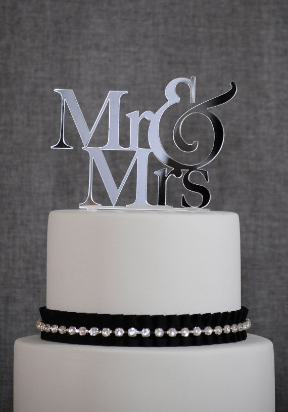 Mirrored silver Acrylic Initials Wedding//Engagement cake topper cake decoration