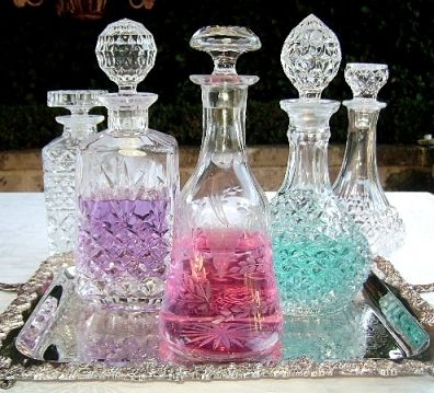 Vintage Cut Crystal Decanters ~ great for mouth wash(very ugly bottles) in bathrooms