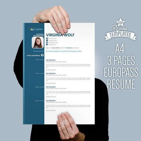 Europe Cv Format, Resume Template, 2 Page Cv A4 + Letter Size By