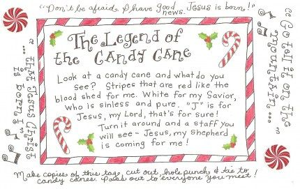The Legend Of The Candy Cane Free Printable Tag Candy Cane