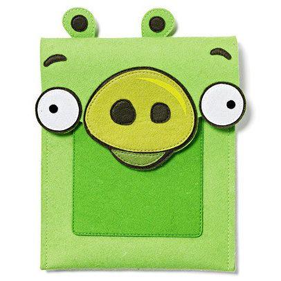 Nom Nom Nom! Angry Birds iPad Case in Felt - Green Pig. Fit all version of iPad!