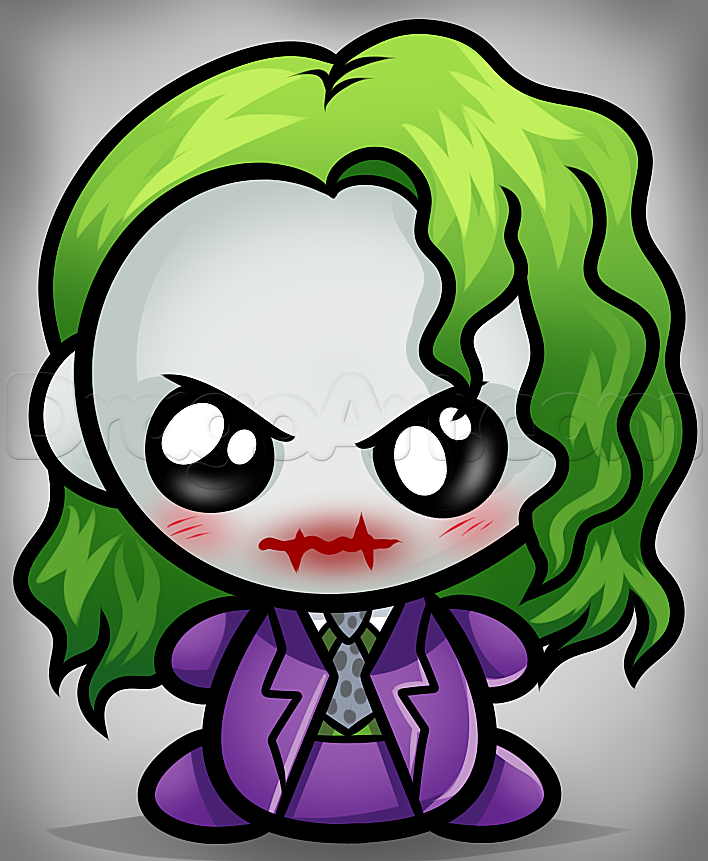 How to Draw Kawaii Joker, Step by Step, Dc Comics, Comics ...  How to Draw Kaw...