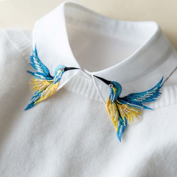 5ae3e4c6a Encaje de encaje hongo collar medio-largo pájaro Pesado color bordado  collar collier femme chaleco blusa cuello falso