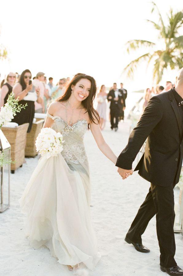 Light Grey Strapless Beach Wedding Dress   gowns   Pinterest   Beach ...