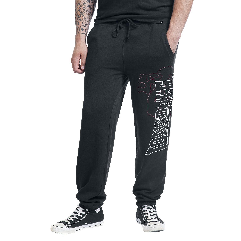 """#Pantaloni della tuta neri """"Logo Large"""" di #LonsdaleLondon con nome del brand stampato sulla gamba sinistra, coulisse in vita ed etichetta con bandiera inglese laterale. Materiale: 80% cotone, 20% poliestere."""