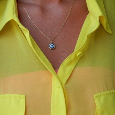 Dark Blue Evil Eye Necklace