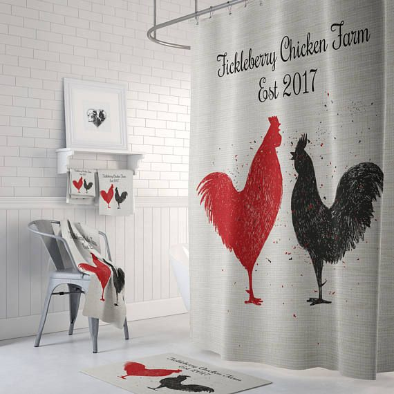 Rooster Chicken Personalized Farm Shower Curtain Farmhouse