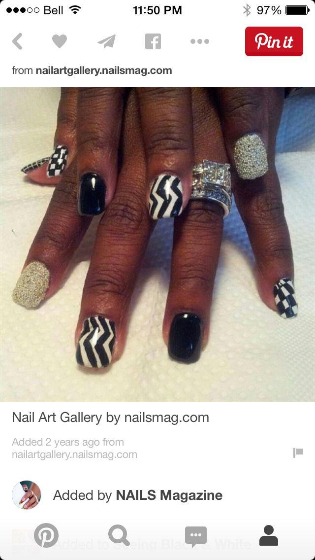 Black white and Bling | Cool nails | Pinterest | Bling