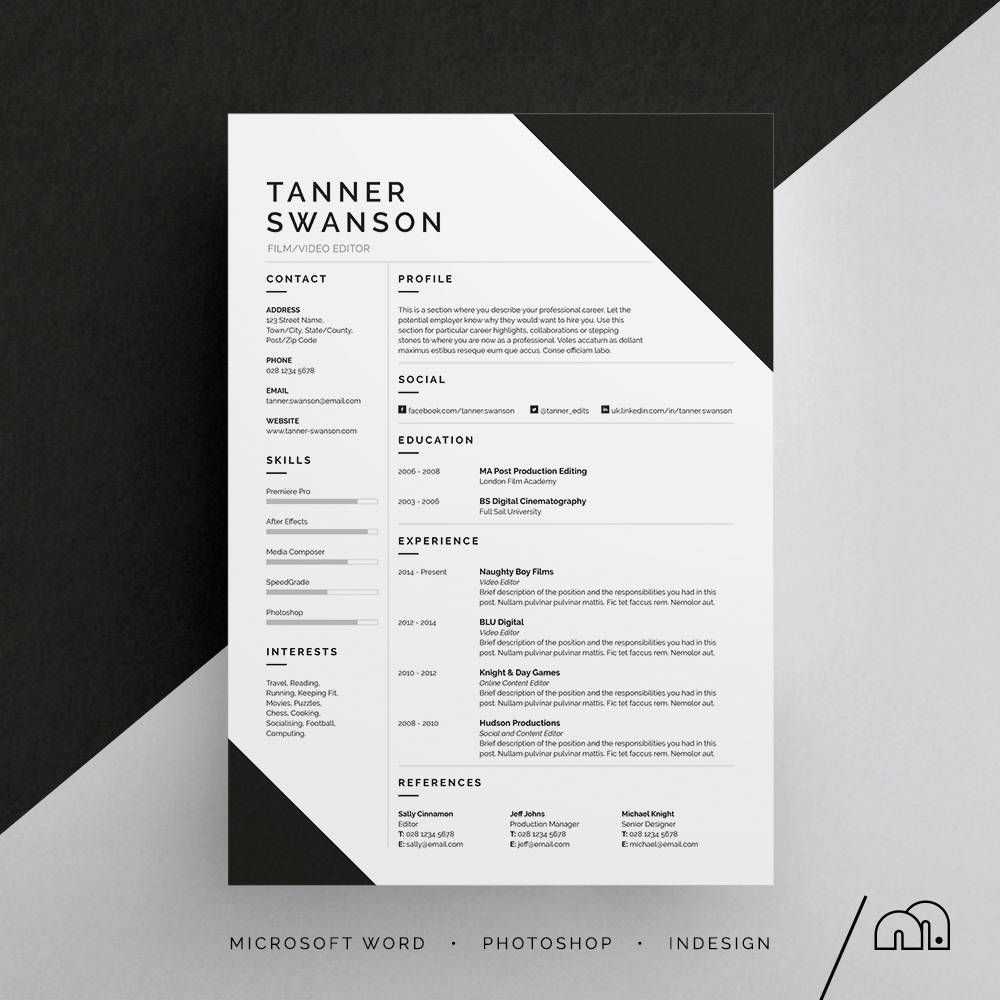 Tanner Resume/CV Template | Word | Photoshop | InDesign ...