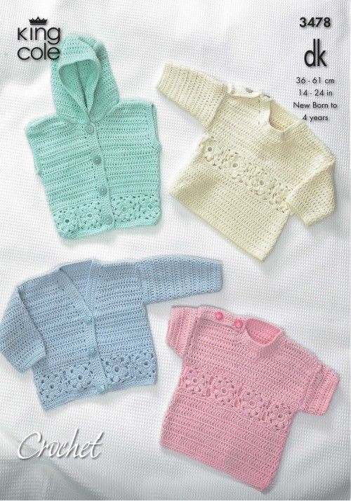 King Cole Crochet Pattern 3478 Babies Hooded Jacket Cardigan and Sweaters