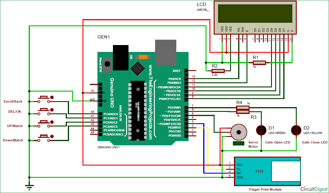 Arduino finger print sensor security system circuit