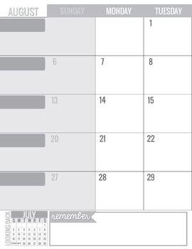 Teacher Planning Calendar Template Grayscale