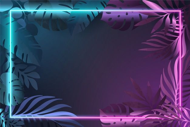 Gradient Leaves With Neon Frame Free Vec