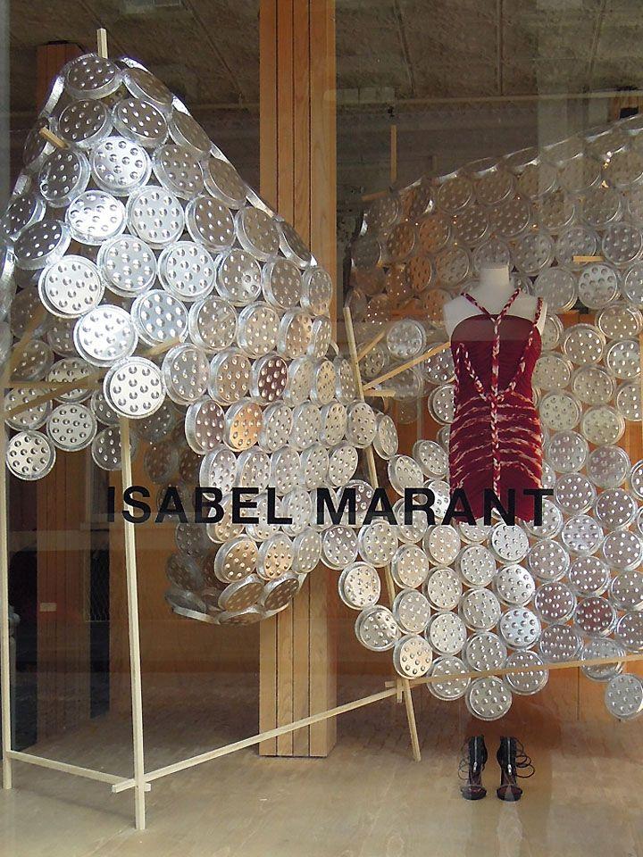 Isabel Marant aluminum plates windows by Arnold Goron visual merchandising