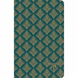"""Neo Deco carnet piqûre textile 11x17cm 96 pages ligné Vert émeraude motif """"Végétal"""" papier ivoire 90g – Lot de 12 – Wc"""