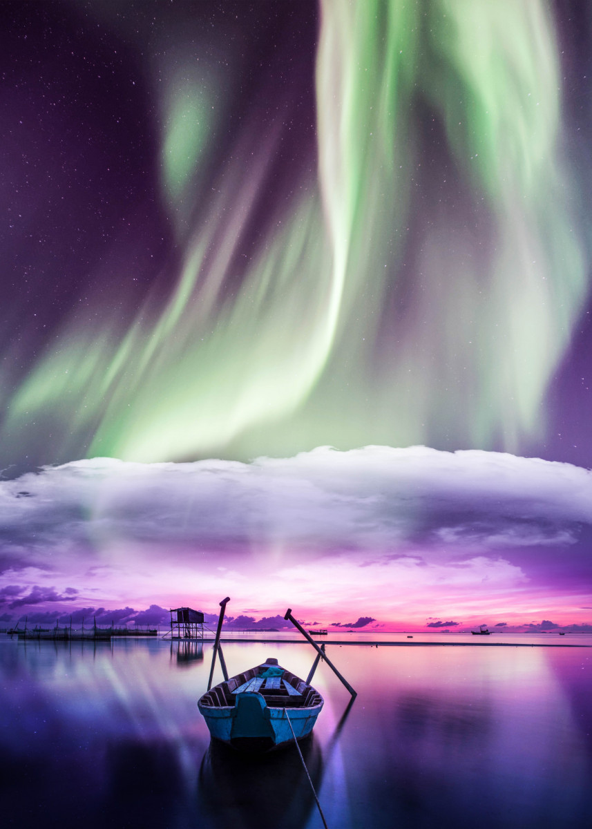 Northern Lights At Night Poster Art Print By Okan Byrm Displate Northern Lights Wallpaper Northern Lights Nature Posters