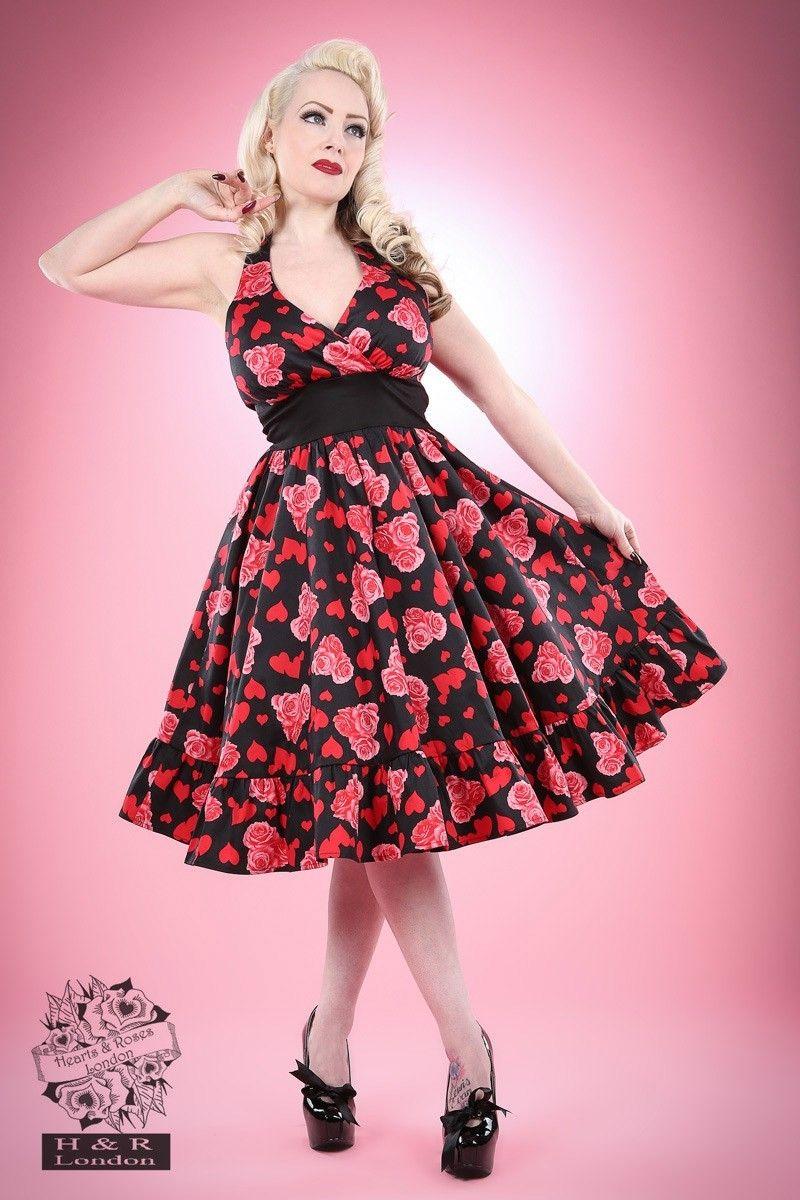 Robe Pin-Up Rétro 50\'s Rockabilly Heart Roses - Robe - Vetements ...