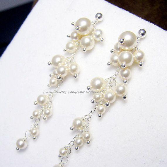 Pearl Bridal Earrings E2017 Ivory Pearl Long by adriajewelry