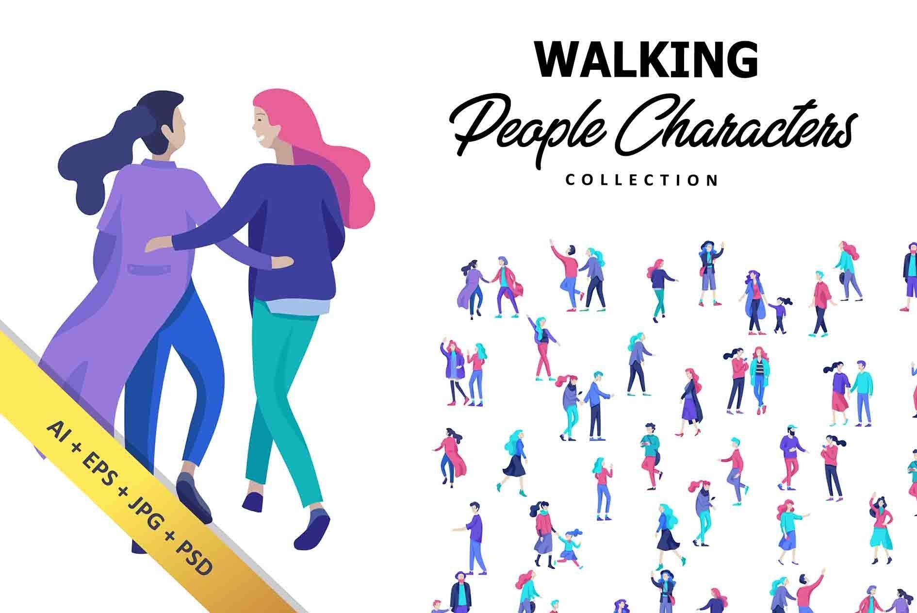 Walking people collection Walking people, Winter