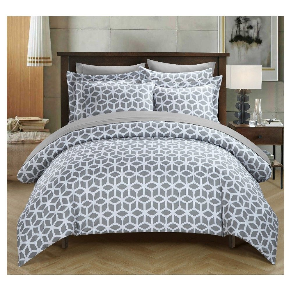 lovey geometric diamond reversible duvet cover set 2 piece (twin