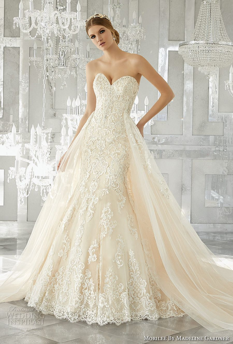 Morilee by madeline gardner fall 2017 wedding dresses for Fit and flare wedding dress with sweetheart neckline