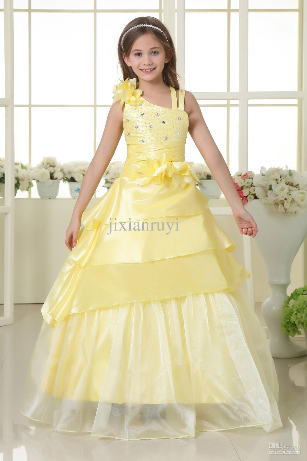 Yellow Flower Girl Dresses Cheapbeautifull Pictures Of Flowers