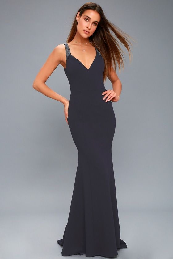 200beef5571 Celebrate a love that will last a lifetime in the Celena Navy Blue Beaded Maxi  Dress! Stretch knit forms a V-neckline and a princess seamed bodice.