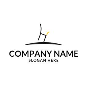 Yellow Line And Black Chair Logo Design Custom Logo Design Logo