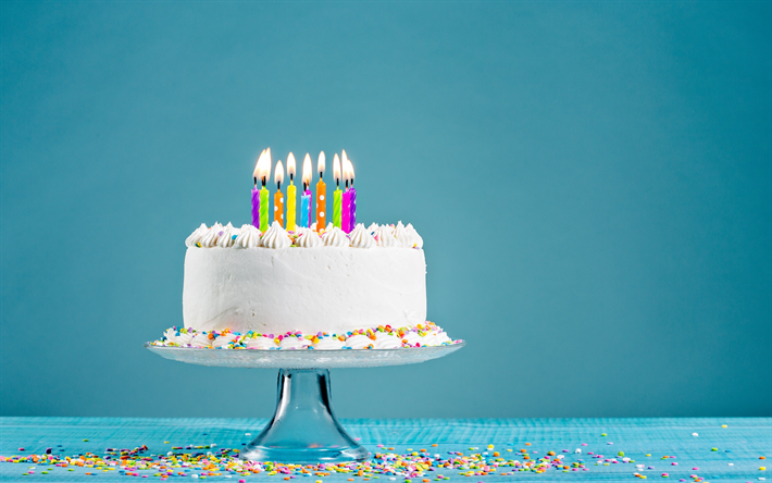 Download Wallpapers Happy Birthday Cake Candles Congratulation Cake On A Blue Background Besthqwallpapers Com Order Birthday Cake Birthday Cake With Candles Happy Birthday Cakes
