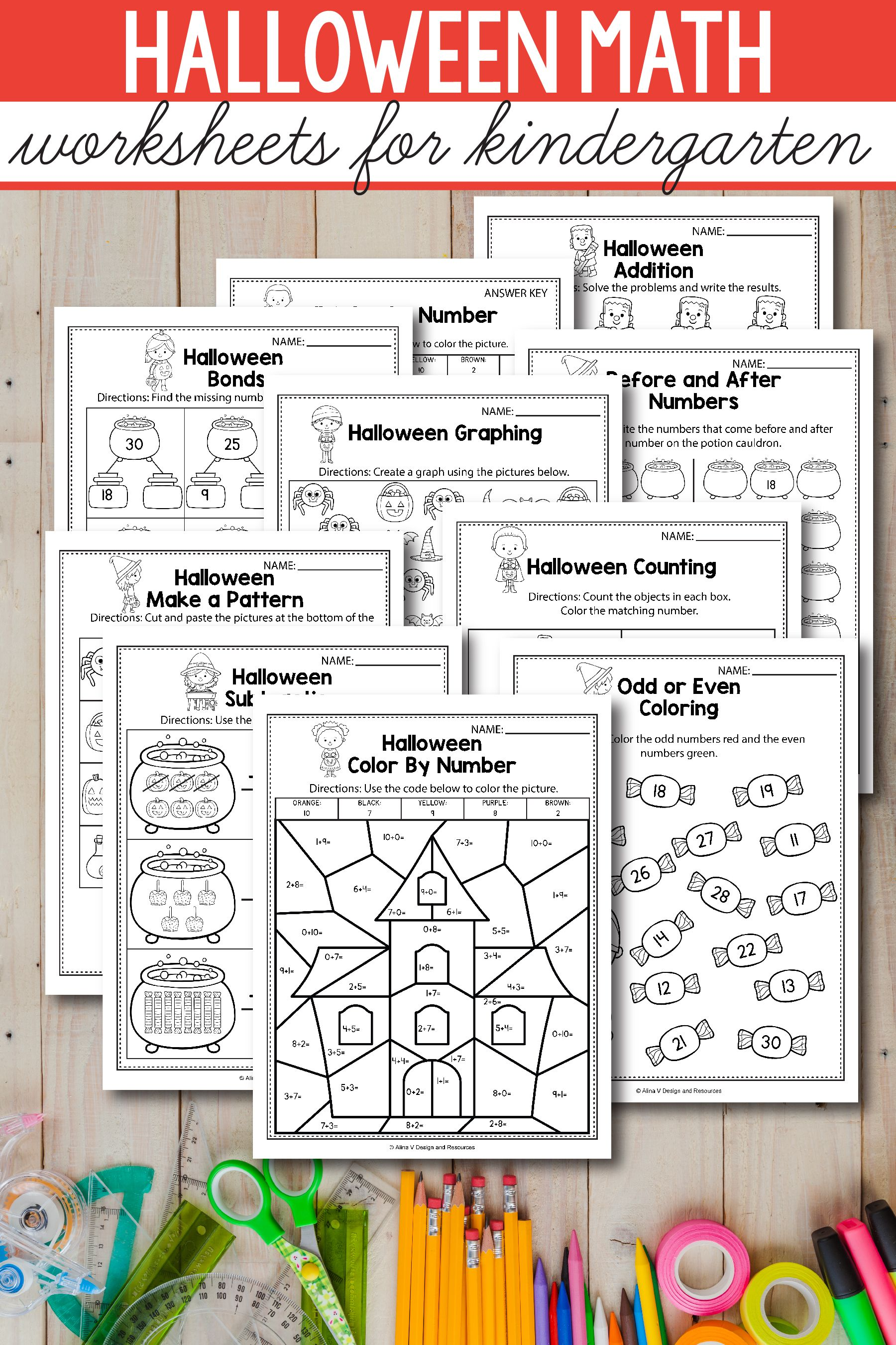 Halloween Math Activities For Kindergarten 1st Grade And