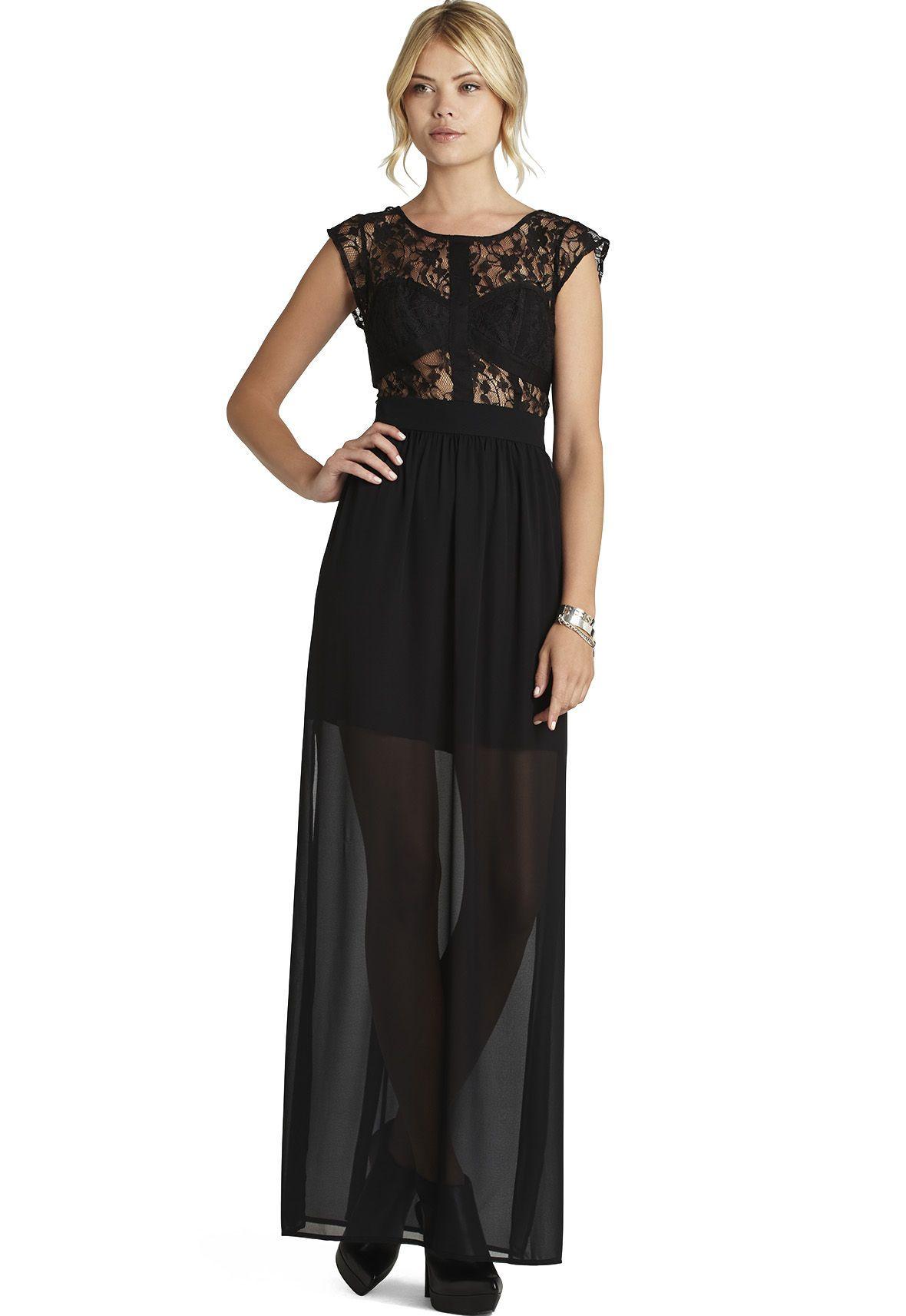 Wedding dresses crewe  Black Sleeveless Sheer Lace Insert Backless Maxi Dress  femme