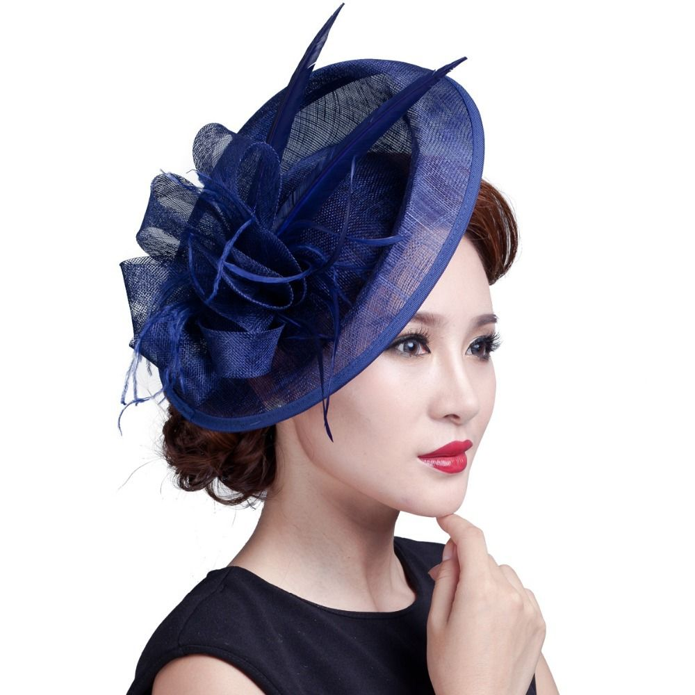 Las Large Ivory Feather Sinamay Hats Women Hair Accessories Fancy Fascinators For Wedding Party And Races