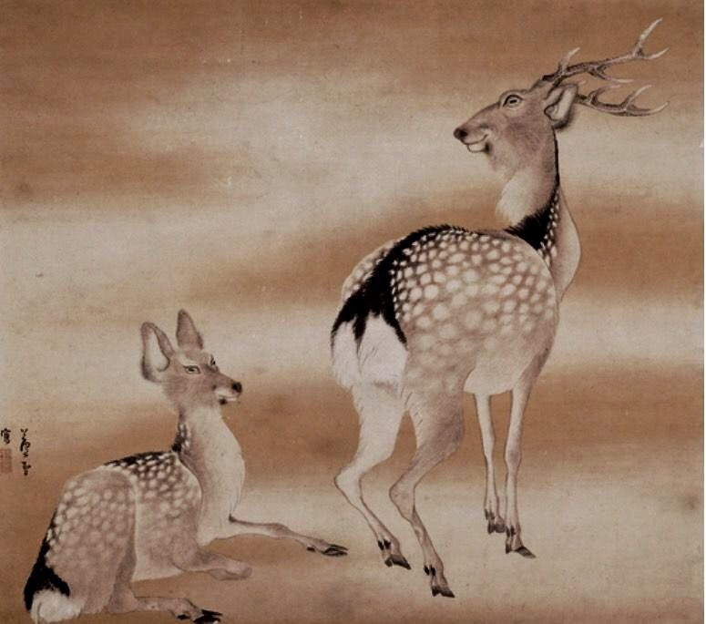 Nagasawa Rosetsu. Deer. Japanese painting. Edo period. Kyoto National Museum.