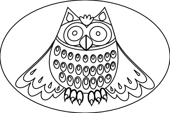 Cute Owl Black White Line Art Scalable Vector Graphics SVG Inkscape ...