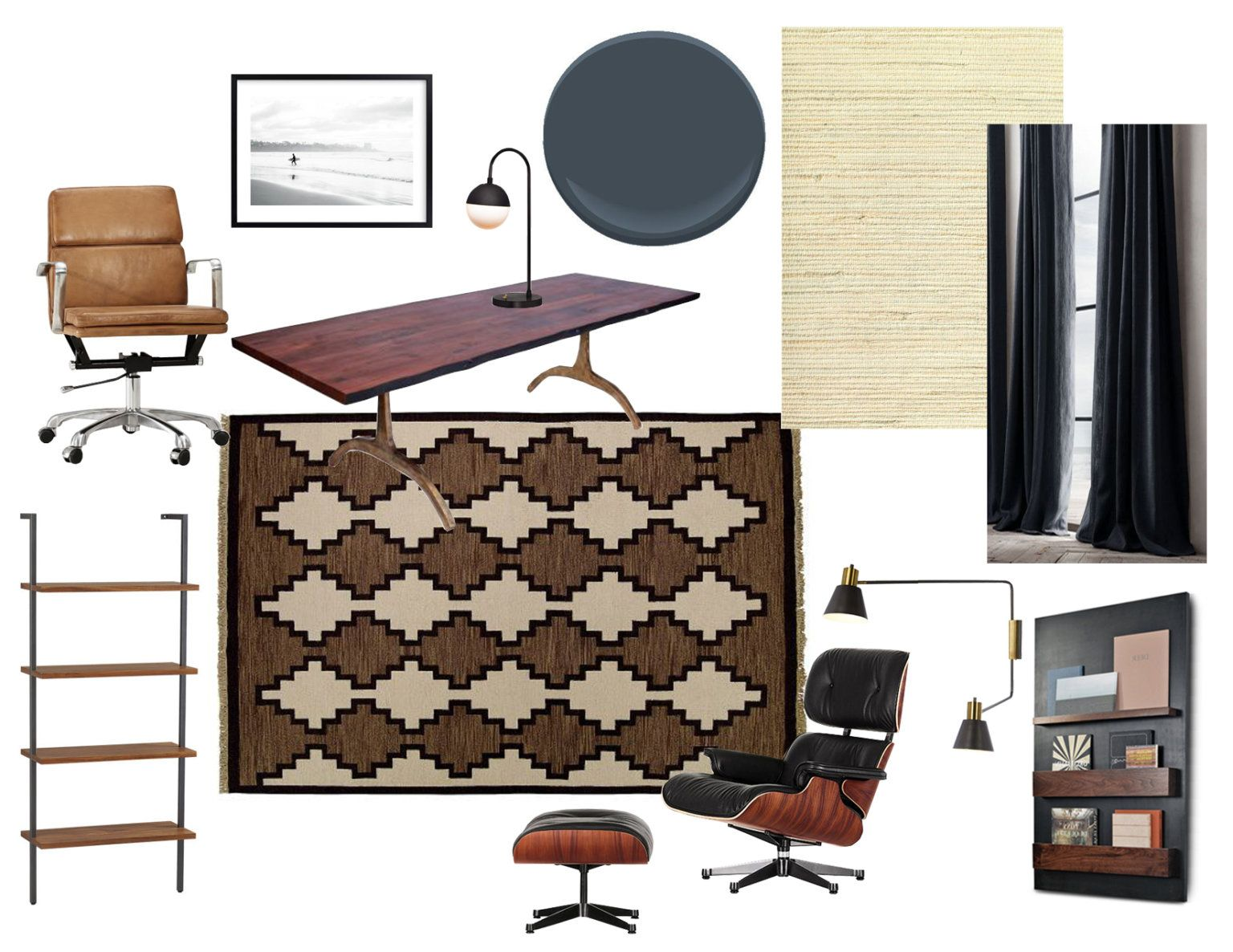 home office mexico. Moody Mid Century Home Office - Emily Henderson Mexico E