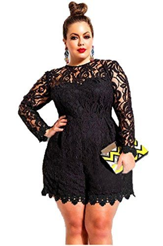 337e34459f2a Eastylish Eastylish Women s Fashion Turtle Neck Lace Overlay Sexy  Transparent Plus Size Womens Romper 4XL 5XL