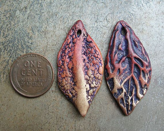 Polymer clay leaf shaped drops with natural by atLoganSquare