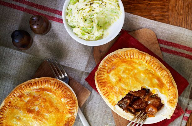 Slimming Worlds steak and Guinness pies with sprout mash