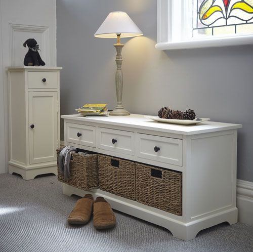 Hallway Storage Bench   2 Seat At Store. Traditional Wooden Hallway Bench  With Wicker Storage Baskets Beneath For Shoes Etc.