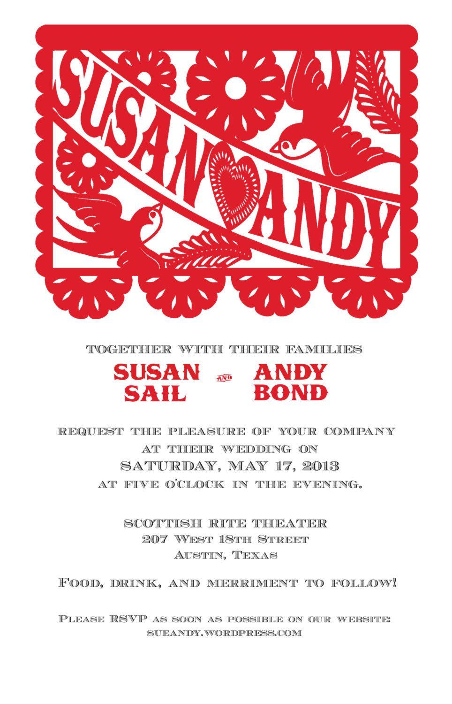 Beautiful Papel Picado Wedding Invitation. $25.00, via Etsy.   Decor ...