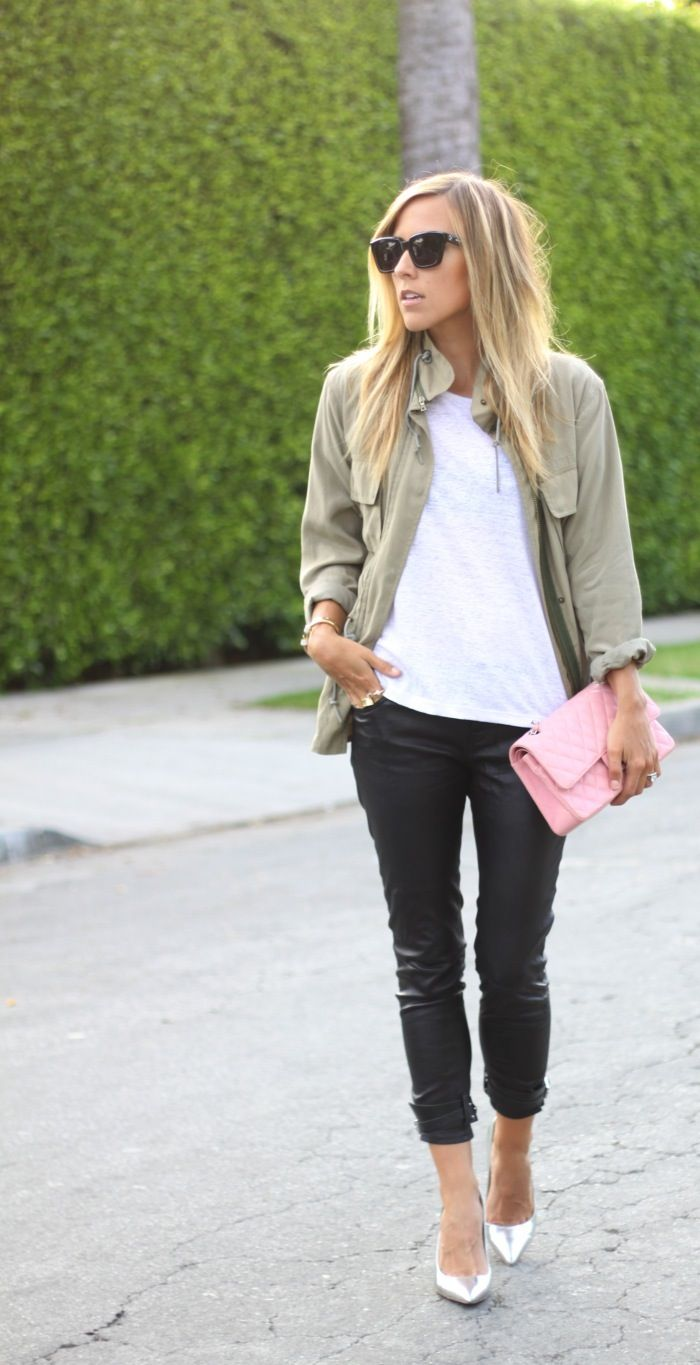 Army Green Jacket + Leather Pants