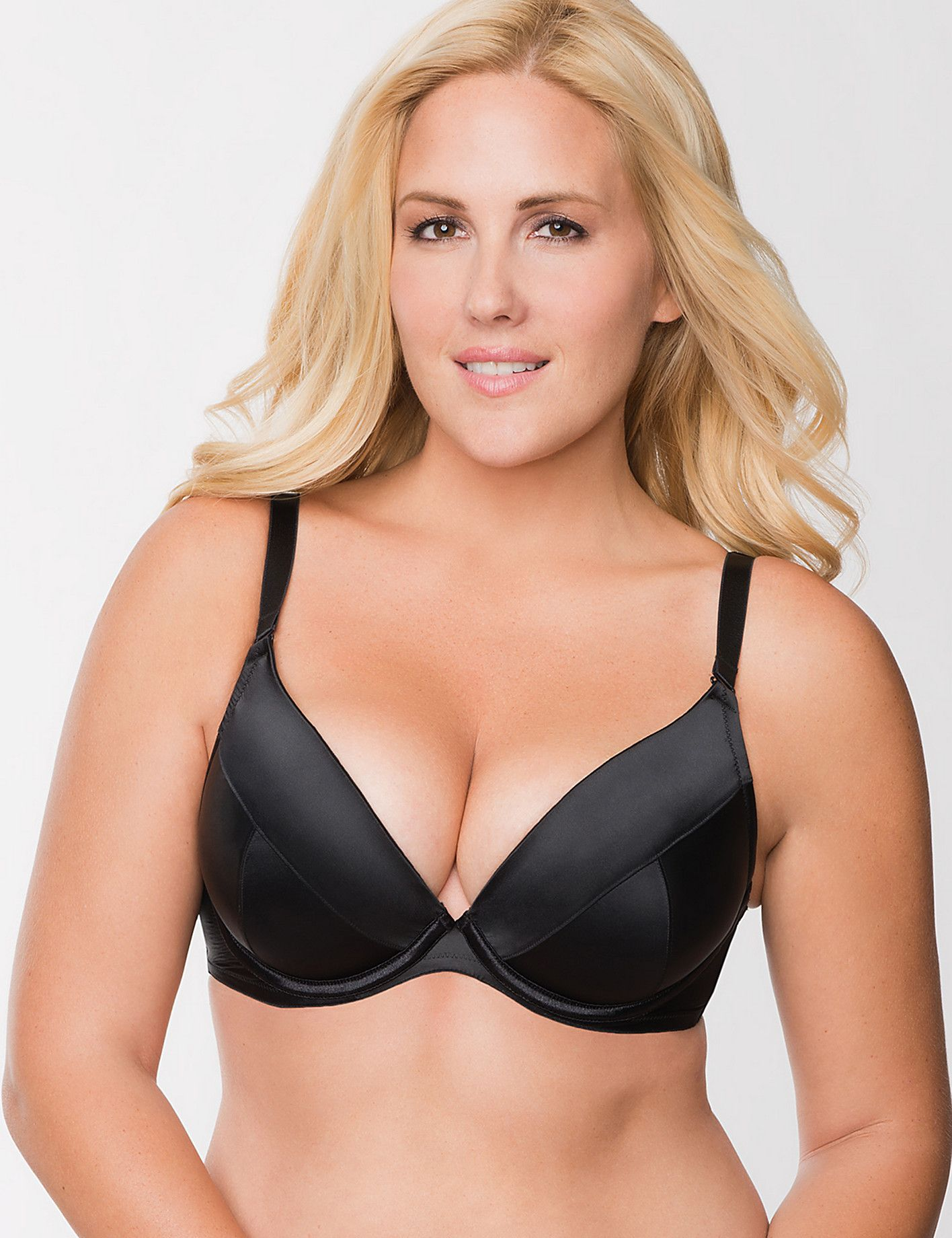 Plus Size Satin Push Up Plunge Bra by Cacique | Lane Bryant ...