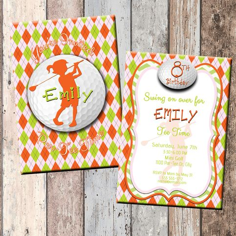 Golf Girl Personalized Birthday Invitation 2 Sided Card Party SCG Designs