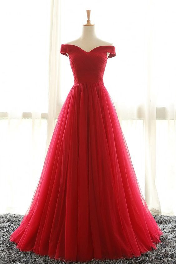 Ups0078, Full Length, Off Shoulder Sleeves, Red Bridesmaid Dresses ...