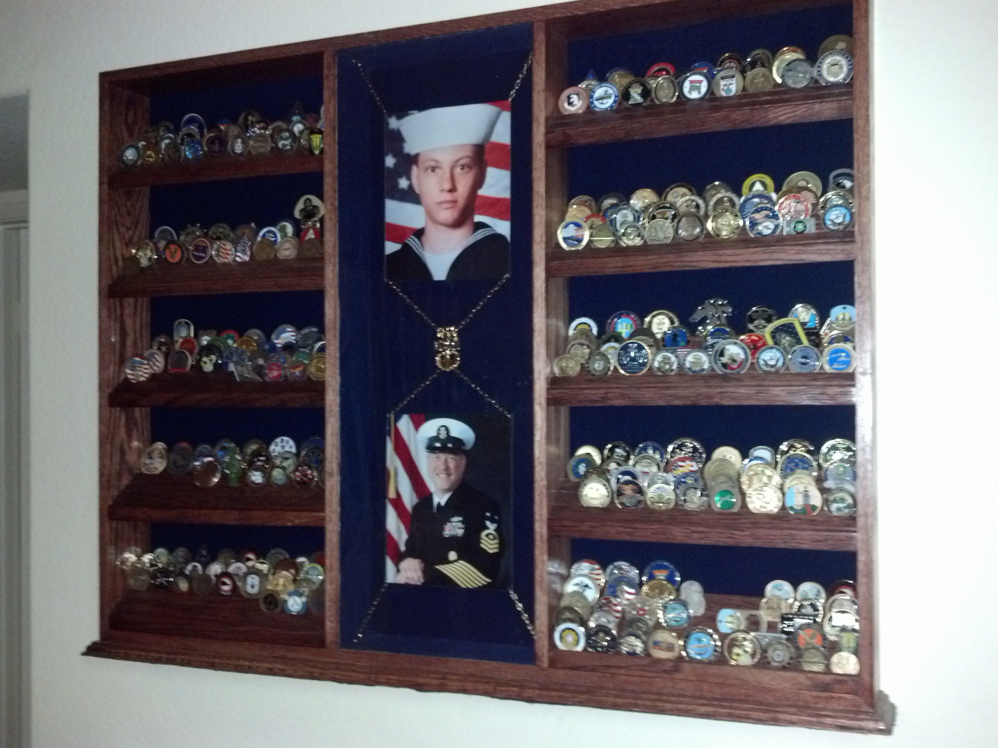 I had this made for all John's coins.It hold 500 coins. Added his.Boot camp and last picture after a 30 year career