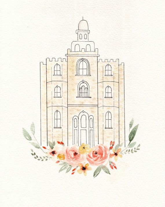 Lds Logan Ut Temple Lds Art Temple Watercolor 8x10 Watercolor Art