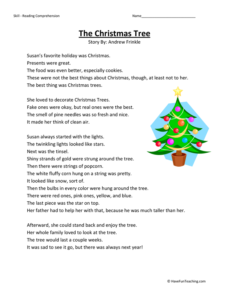 Christmas Tree Reading Comprehension Worksheet | Reading comprehension worksheets, Reading ...